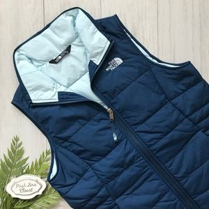 NORTH FACE Girls Harway Puffer Vest Blue Teal NWT